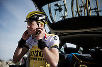 After a very intense training session (several times) up Coll de Rates (Alicante, Spain), Robert Gesink (NLD/LottoNL-Jumbo) is preparing to go down again.<br /> <br /> January 2016 Training Camps