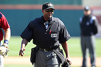 Home plate umpire A.J. Johnson during a game between the Buffalo Bisons and Lehigh Valley IronPigs at Coca-Cola Field on April 19, 2012 in Buffalo, New York.  Lehigh Valley defeated Buffalo 8-4.  (Mike Janes/Four Seam Images)