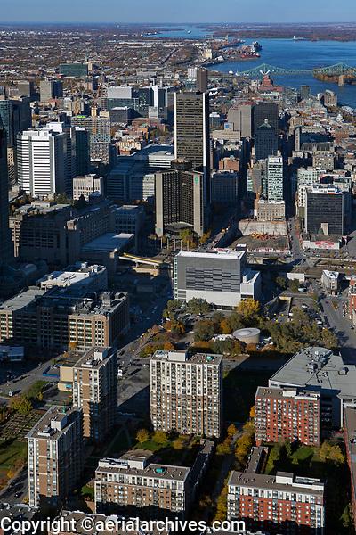 aerial photograph of the downtown Montreal Quebec, Canada toward the north includes the Tour de la Bourse, the Hotel EVO and adjacent buildings | photographie aérienne du centre-ville de Montréal Québec, Canada