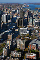 aerial photograph of the downtown Montreal Quebec, Canada toward the north includes the Tour de la Bourse, the Hotel EVO and adjacent buildings | photographie aérienne du centre-ville de Montréal Québec, Canada