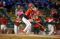 Ohio State Buckeyes first baseman Zach Ratcliff (32) at bat during a game against the Pitt Panthers on February 20, 2016 at Holman Stadium at Historic Dodgertown in Vero Beach, Florida.  Ohio State defeated Pitt 11-8 in thirteen innings.  (Mike Janes/Four Seam Images)