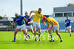 Mikey Boyle, Kerry, in action against Shane Brennan, Meath and Seán Geraghty, Meath during the Round 1 meeting of Kerry and Meath in the Joe McDonagh Cup at Austin Stack Park in Tralee on Sunday.