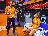 Den Bosch, The Netherlands, Februari 07 2019,  Maaspoort , FedCup  Netherlands - Canada, Captain Paul Haarhuis (NED) with  Arantxa Rus (NED)<br /> Photo: Tennisimages/Henk Koster