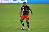 WASHINGTON, DC - SEPTEMBER 12: Ola Kamara #9 of D.C. United moves the ball during a game between New York Red Bulls and D.C. United at Audi Field on September 12, 2020 in Washington, DC.