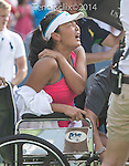 Shuai Peng (CHN) retires with injury, losing to Caroline Wozniacki (DEN) 7-6, 4-3 at the US Open being played at USTA Billie Jean King National Tennis Center in Flushing, NY on September 5, 2014