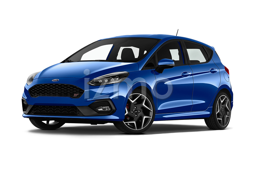 Stock pictures of low aggressive front three quarter view of a 2018 Ford fiesta st Ultimate 5 Door Hatchback