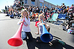 Olivia Elliott, 8, left, and Sonnet VanDoren, 9, watch the Nevada Day parade in Carson City, Nev., on Saturday, Oct. 31, 2015. <br /> Photo by Cathleen Allison