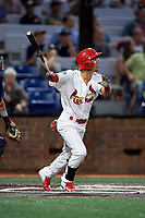 Johnson City Cardinals center fielder Jonatan Machado (51) follows through on a swing during a game against the Danville Braves on July 28, 2018 at TVA Credit Union Ballpark in Johnson City, Tennessee.  Danville defeated Johnson City 7-4.  (Mike Janes/Four Seam Images)