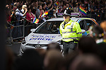 "© Joel Goodman - 07973 332324 . 23/08/2014 .  Manchester , UK . Police with Pride car . The parade through Manchester City Centre . Manchester Pride "" Big Weekend "" in Manchester "" today ( 23rd August 2014 ) . Photo credit : Joel Goodman"