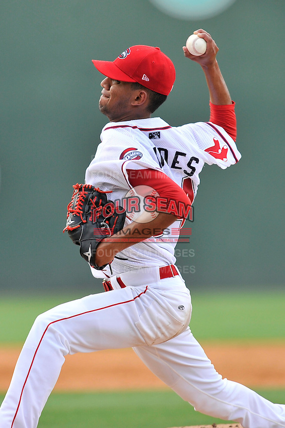 Starting pitcher Roniel Raudes (34) of the Greenville Drive delivers a pitch in a game against the Lakewood BlueClaws on Sunday, June 26, 2016, at Fluor Field at the West End in Greenville, South Carolina. Greenville won, 2-1. (Tom Priddy/Four Seam Images)