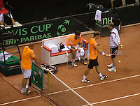 10-09-13,Netherlands, Groningen,  Martini Plaza, Tennis, DavisCup Netherlands-Austria, Training,  Ltr: coach Raymond Knaap, Robin Haase, Thiemo de Bakker and captain Jan Siemerink (NED) <br />