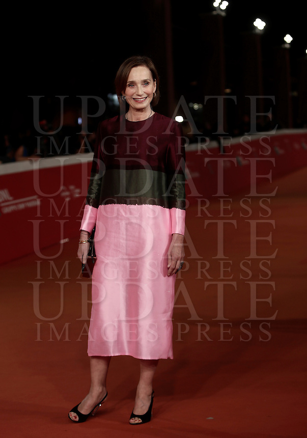 """British actress Kristin Scott Thomas poses on the red carpet for a special screening of the movie """"The English Patient"""" during the international Rome Film Festival at Rome's Auditorium, 22 October 2016. The Film Festival celebrates one of the most beloved of Cinema History 'The English Patient' by Anthony Minghella, released twenty years ago (in 1996). <br /> UPDATE IMAGES PRESS/Isabella Bonotto"""