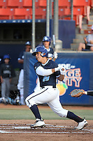 Alex Gomez (29) of the University of San Diego Toreros bats against the Cal State Fullerton Titans at Goodwin Field on April 5, 2016 in Fullerton, California. Cal State Fullerton defeated University of San Diego, 4-2. (Larry Goren/Four Seam Images)