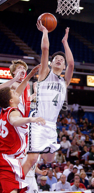 Mater Dei High's Travis Wear and Blake Arnet, guards Palo Alto High's Jeremy Lin, during the first half of Friday, March 17, 2006, California Interscholastic Federation state championship game. Palo Alto High School  won the Boys Division II California State Champion game 51-47.  ( @ Photo by Norbert von der Groeben )