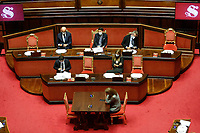 Italian premier Giuseppe Conte wearing a face mask, surrounded by ministers after his speech to inform the Senate about the last Covid-19 decree.<br /> Rome (Italy), October 21st 2020<br /> Photo Samantha Zucchi Insidefoto