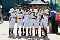 GCL Pirates Brian Sousa (41), Mikell Granberry (31), Calvin Mitchell (52), Claudio Scotti (17), Eumir Sepulveda (68), and Manny Bejerano (56) before a game against the GCL Braves on July 26, 2017 at Pirate City in Bradenton, Florida.  GCL Braves defeated the GCL Pirates 12-5.  (Mike Janes/Four Seam Images)