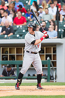 Chris McGuiness (19) of the Indianapolis Indians at bat against the Charlotte Knights at BB&T Ballpark on May 23, 2014 in Charlotte, North Carolina.  The Indians defeated the Knights 15-6.  (Brian Westerholt/Four Seam Images)