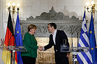 Pictured: A joint press conference held by German Chancellor Angela Merkel with Greek Prime Minister Alexis Tsipras at Maximou Mansion (Megaro Maximou) in Athens, Greece.<br /> Re: Official visit of German Chancellor Angela Merkel  to Athens, Greece.