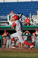Williamsport Crosscutters third baseman Jesus Henriquez (4) follows through on a swing during a game against the Batavia Muckdogs on June 21, 2018 at Dwyer Stadium in Batavia, New York.  Batavia defeated Williamsport 6-5.  (Mike Janes/Four Seam Images)