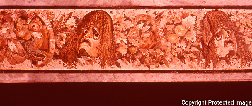 Roman Art:  Mosaic--Masks of Tragedy, Flowers, Fruit.  National Museum, Naples.