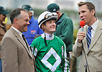 30 January 2009: Capt. Candyman Can's jockey Julien Leparoux and trainer Ian Wilkes are interviewed after the colt wins the 53rd running of the Grade 2 Hutcheson Stakes for three-year-olds at Gulfstream Park in Hallandale, Florida.