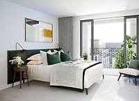 BNPS.co.uk (01202) 558833. <br /> Pic: Savills/BNPS <br /> <br /> Pictured: Hornsey Town Hall Bedroom. <br /> <br /> Apartments in the grounds of an iconic 1930s building where Queen first appeared in concert and the TV series Whitechapel was filmed, have gone on sale.<br /> <br /> The new owners will live alongside Hornsey Town Hall, which has appeared in a string of movies and TV series including The Crown and Killing Eve.<br /> <br /> Rock band Queen performed their first concert there in 1971 as a supporting band and part of the 2018 film Bohemian Rhapsody starring Rami Malek was made there.<br /> <br /> The flats, which start from £505,000, are part of the development of the iconic modernist building in Crouch End, North London.