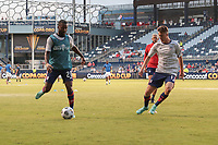 KANSAS CITY, KS - JULY 15: Shaq Moore #20 of the United States warming up before a game between Martinique and USMNT at Children's Mercy Park on July 15, 2021 in Kansas City, Kansas.