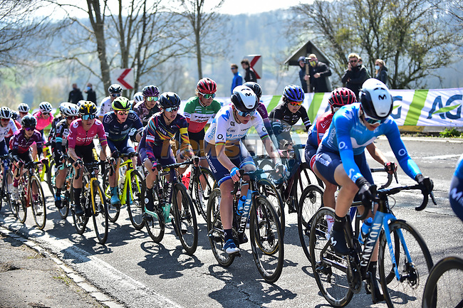 The peloton including European Champion Annemiek Van Vleuten (NED) Movistar Team Women and Katarzyna Niewiadoma (POL) Canyon//SRAM Racing during Liege-Bastogne-Liege Femmes 2021, running 141km from Bastogne to Liege, Belgium. 25th April 2021.  <br /> Picture: A.S.O./Gautier Demouveaux   Cyclefile<br /> <br /> All photos usage must carry mandatory copyright credit (© Cyclefile   A.S.O./Gautier Demouveaux)