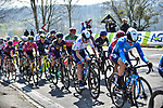 The peloton including European Champion Annemiek Van Vleuten (NED) Movistar Team Women and Katarzyna Niewiadoma (POL) Canyon//SRAM Racing during Liege-Bastogne-Liege Femmes 2021, running 141km from Bastogne to Liege, Belgium. 25th April 2021.  <br /> Picture: A.S.O./Gautier Demouveaux | Cyclefile<br /> <br /> All photos usage must carry mandatory copyright credit (© Cyclefile | A.S.O./Gautier Demouveaux)