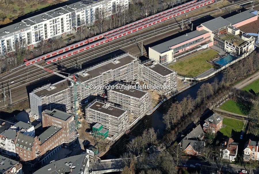 Bergedorf Billebad: EUROPA, DEUTSCHLAND, HAMBURG, (EUROPE, GERMANY), 09.02.2008: Bergedorf,  Zentrum, Uebersicht,  Bahn, Linie, Bahnlinie, Lohbruegge,  Stadtansicht,  Baustelle, Neubau, Bau, Baugrundstueck,  Billebad, Luftbild, Luftansicht, Air, Aufwind-Luftbilder..c o p y r i g h t : A U F W I N D - L U F T B I L D E R . de.G e r t r u d - B a e u m e r - S t i e g 1 0 2, .2 1 0 3 5 H a m b u r g , G e r m a n y.P h o n e + 4 9 (0) 1 7 1 - 6 8 6 6 0 6 9 .E m a i l H w e i 1 @ a o l . c o m.w w w . a u f w i n d - l u f t b i l d e r . d e.K o n t o : P o s t b a n k H a m b u r g .B l z : 2 0 0 1 0 0 2 0 .K o n t o : 5 8 3 6 5 7 2 0 9.C o p y r i g h t n u r f u e r j o u r n a l i s t i s c h Z w e c k e, keine P e r s o e n l i c h ke i t s r e c h t e v o r h a n d e n, V e r o e f f e n t l i c h u n g  n u r  m i t  H o n o r a r  n a c h M F M, N a m e n s n e n n u n g  u n d B e l e g e x e m p l a r !.