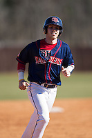 Jake Kennedy (30) of the Shippensburg Raiders rounds the bases after hitting his second home run of the game against the Belmont Abbey Crusaders at Abbey Yard on February 8, 2015 in Belmont, North Carolina.  The Raiders defeated the Crusaders 14-0.  (Brian Westerholt/Four Seam Images)