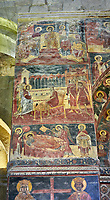 Pictures & images of the interior medieval frescoes depicting the Asumption of the Virgin. The Eastern Orthodox Georgian Svetitskhoveli Cathedral (Cathedral of the Living Pillar) , Mtskheta, Georgia (country). A UNESCO World Heritage Site.<br /> <br /> Currently the second largest church building in Georgia, Svetitskhoveli Cathedral is a masterpiece of Early Medieval architecture completed in 1029 by Georgian architect Arsukisdze on an earlier site dating back toi the 4th century.