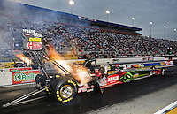 Sept. 16, 2011; Concord, NC, USA: NHRA top fuel dragster driver Terry McMillen during qualifying for the O'Reilly Auto Parts Nationals at zMax Dragway. Mandatory Credit: Mark J. Rebilas-US PRESSWIRE