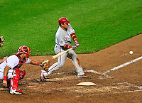 27 September 2010: Philadelphia Phillies' catcher Carlos Ruiz in action against the Washington Nationals at Nationals Park in Washington, DC. With an 8-0 shutout win, the Philles clinched the National League Eastern Division Title. Mandatory Credit: Ed Wolfstein Photo
