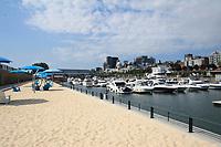 August 2012   File Photo - Montreal, Quebec, CANADA -  Quai de l'horloge urban beach in Montreal's Old-Port.