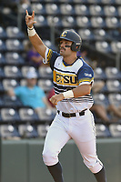 Right fielder Aaron Maher (27) of East Tennessee State crosses the plate after hitting a home run in a game against Samford at the Southern Conference Baseball Championship on Saturday, May 27, 2017, at Fluor Field at the West End in Greenville, South Carolina. ETSU won, 16-6. (Tom Priddy/Four Seam Images)