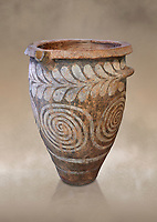 The Minoan clay burial pithos with swirl and leaf design,  Neopalatial period 1700-1450 BC; Heraklion Archaeological  Museum.<br /> <br /> The body was placed in a foetal postion to aid insertion into the wide mouthed pithos