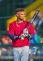 8 July 2015: Mahoning Valley Scrappers infielder Willi Castro warms up prior to a game against the Vermont Lake Monsters at Centennial Field in Burlington, Vermont. The Lake Monsters defeated the Scrappers 9-4 to open the home game series of NY Penn League action. Mandatory Credit: Ed Wolfstein Photo *** RAW Image File Available ****