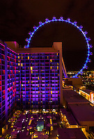 Las Vegas, Nevada at Night, The High Roller from the Eiffel Tower.  The Linq Hotel in Foreground.