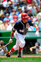 4 July 2009: Washington Nationals first baseman Nick Johnson in action against the Atlanta Braves at Nationals Park in Washington, DC. The Nationals rallied with 4 runs in the 8th inning to defeat the Braves 5-3 and take the second game of the 3-game weekend series. Mandatory Credit: Ed Wolfstein Photo