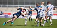 17th April 2021; AJ Bell Stadium, Salford, Lancashire, England; English Premiership Rugby, Sale Sharks versus Gloucester;  Tom Curry of Sale Sharks with a flying tackle on Mark Atkinson of Gloucester