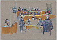 Montreal - CANADA - File images -  An artist's sketch shows Luka Rocco Magnotta, at his trial for the murder of Lin Jun,, September 29, 2014.<br /> <br />  It is one of the most grisly and sensational murder trials in Canadian history<br /> <br /> Image :  Agence Quebec Presse  - Atalante