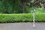 Drinking fountain, water fountain, in the Oregon Gardens.  Oregon Gardens, Silverton, Oregon, USA, an 80 acre botanical garden in the Willamette Valley.