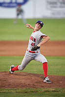 Auburn Doubledays relief pitcher Jackson Tetreault (45) delivers a pitch during a game against the Batavia Muckdogs on July 6, 2017 at Dwyer Stadium in Batavia, New York.  Auburn defeated Batavia 4-3.  (Mike Janes/Four Seam Images)