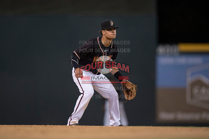 Modesto Nuts shortstop Bryson Brigman (8) during a California League game against the Lake Elsinore Storm at John Thurman Field on May 11, 2018 in Modesto, California. Modesto defeated Lake Elsinore 3-1. (Zachary Lucy/Four Seam Images)