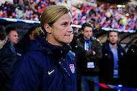 Lorient, France. - Sunday, February 8, 2015: USWNT head coach Jill Ellis. France defeated the USWNT 2-0 during an international friendly at the Stade du Moustoir.