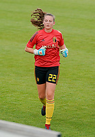 20200820 - TUBIZE , Belgium : Belgium's goal keeper Sien De Belder pictured during a friendly match between Belgian national women's youth soccer team called the Red Flames U17 and Union Saint-Ghislain Tetre , on the 20th of August 2020 in Tubize.  PHOTO: Sportpix.be | SEVIL OKTEM