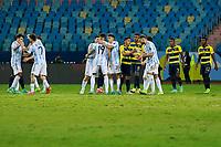 3rd July 2021, Estádio Olímpico Pedro Ludovico stadium, Goiânia, Brazil: Copa America Football tournament, Argentina versus Ecuador;  Argentina celebrate their victory at full time