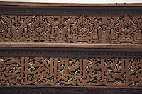 Fez, Morocco - Calligraphy in Carved Woodwork, Bou Inania Medersa, 14th. Century.