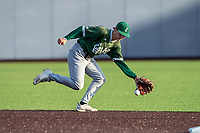 Eastern Michigan Eagles shortstop Tyler Hopkins (17) fields a ground ball during the NCAA baseball game against the Michigan Wolverines on May 8, 2019 at Ray Fisher Stadium in Ann Arbor, Michigan. Michigan defeated Eastern Michigan 10-1. (Andrew Woolley/Four Seam Images)